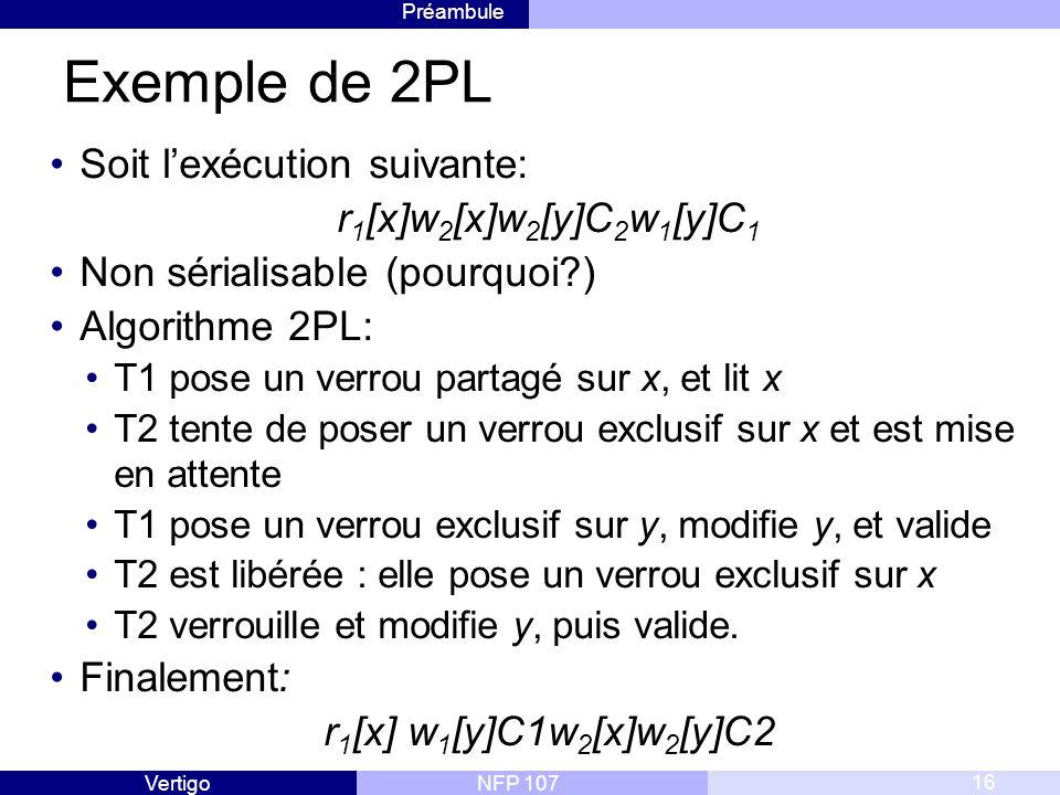 Exemple de 2PL Soit l'exécution suivante: r1[x]w2[x]w2[y]C2w1[y]C1